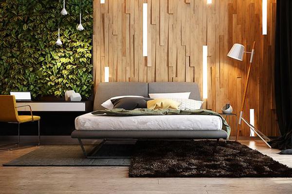 Unique Bedroom Lighting With Vertical Garden Home Design