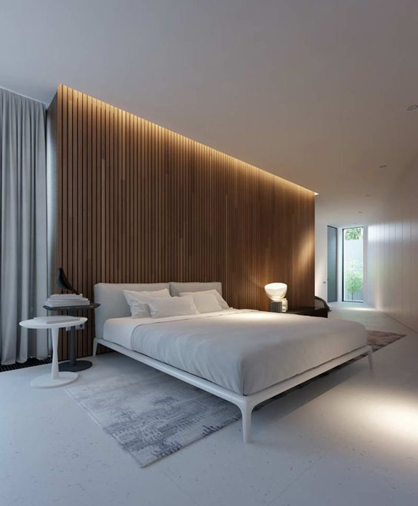 wood-panel-bedroom-lighting | Home Design And Interior