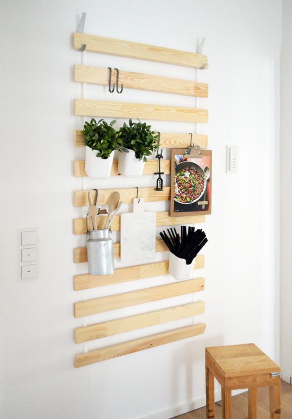 Ikea Bed Slats Hack For Kitchen Shelving
