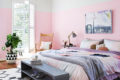 beautiful-pink-bedroom-with-foor-bed-shoes-storage