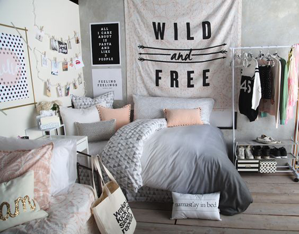 . black and white bedroom decor for teens