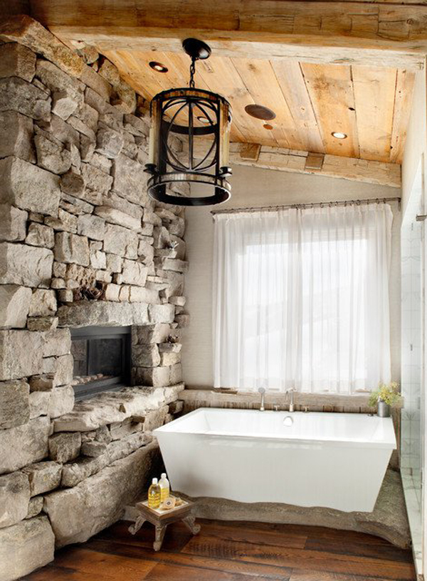 Country Home Bath With Stone Fireplaces