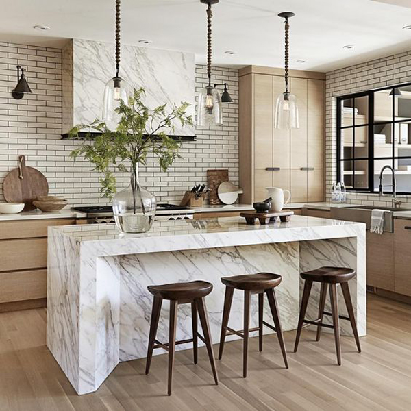 Country Modern Kitchen With Marble Tables