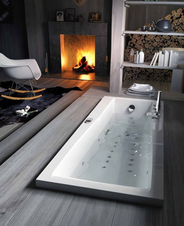 Cozy Small Bathroom With Fireplaces