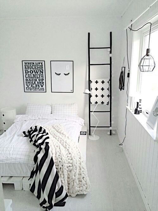Minimalist black and white bedroom ideas for Black and white girls bedroom ideas