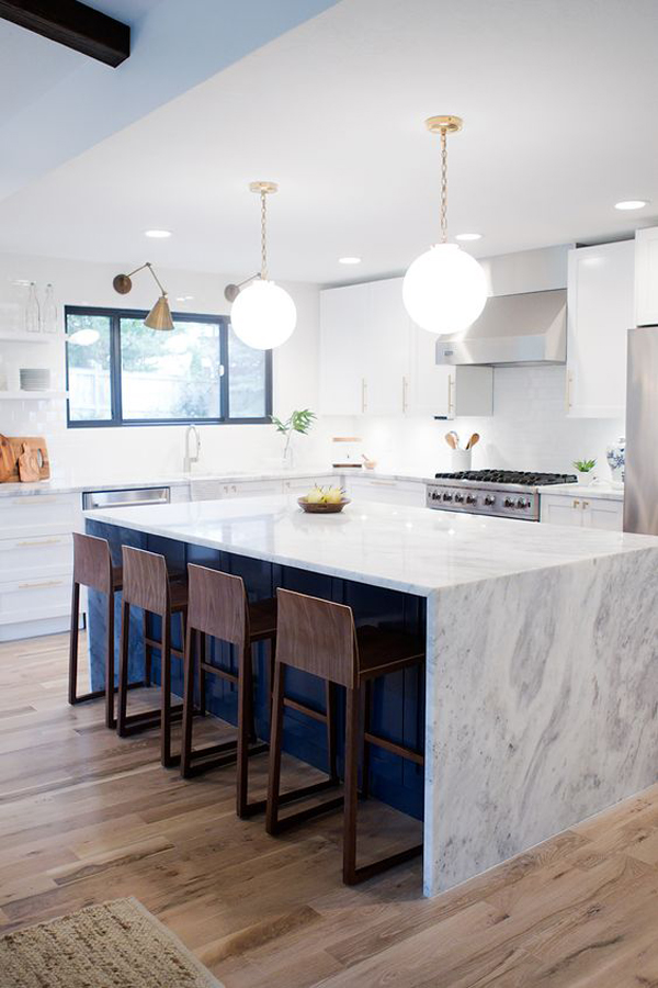 Navy Blue Kitchen Island With Marble Countertop