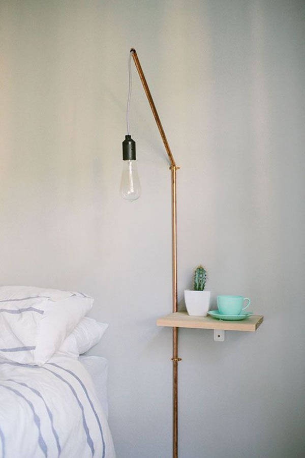 simple-diy-nightstand-with-hanging-lamps Nightstand Ideas for Small Spaces