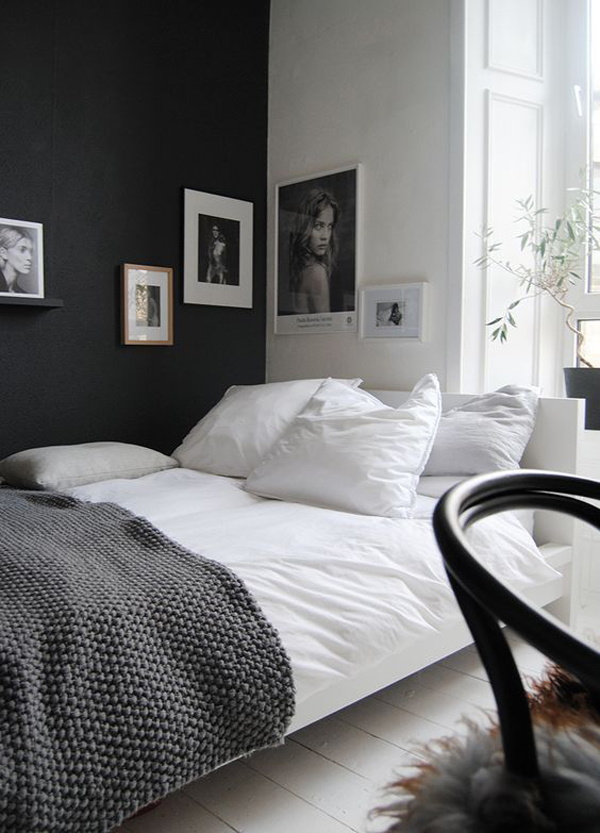simple black and white bedroom for girls