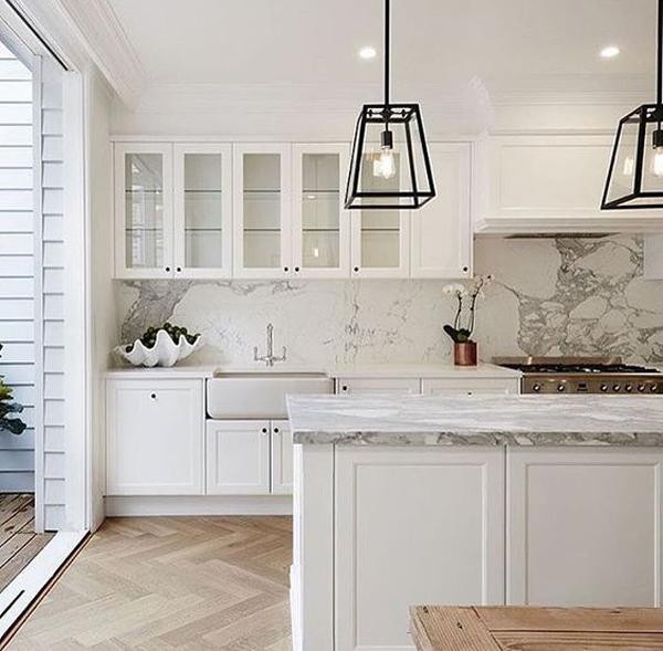 30 Modern Kitchen Design Ideas: White-kitchen-design-with-marble-ideas