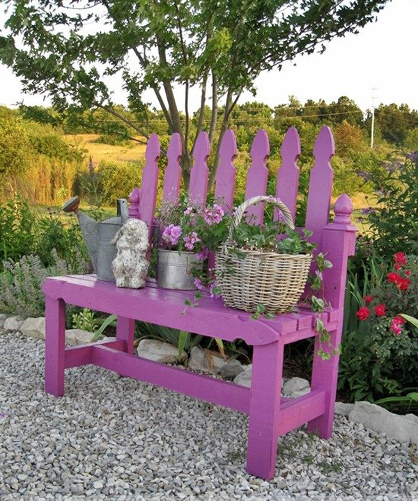 Small Garden Yard With Cute Purple Plants Contemporary: 25 Amazing DIY Outdoor Bench For Your Garden