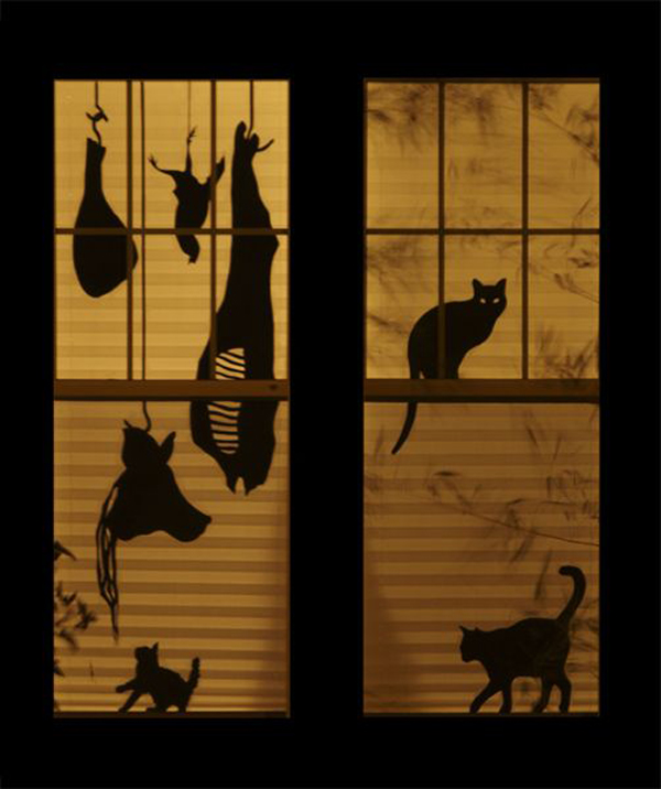 25 scary diy halloween window silhouettes home design. Black Bedroom Furniture Sets. Home Design Ideas