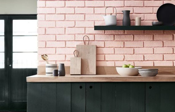 black-kitchen-with-pink-pastel-brick-wall