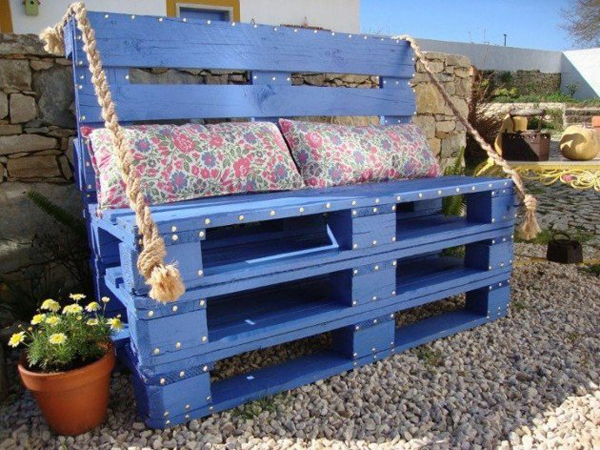 Blue Wooden Crates Bench Furniture