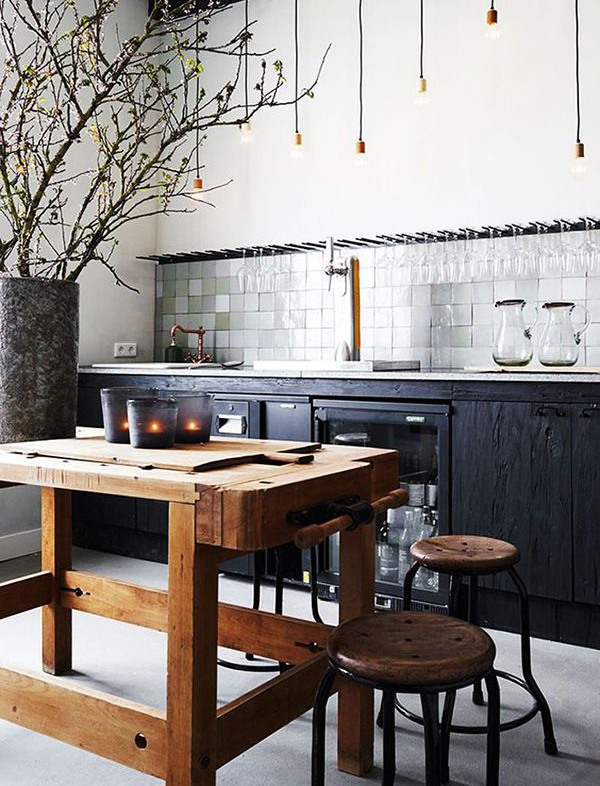 Contemporary Black Kitchen With Rustic Elements