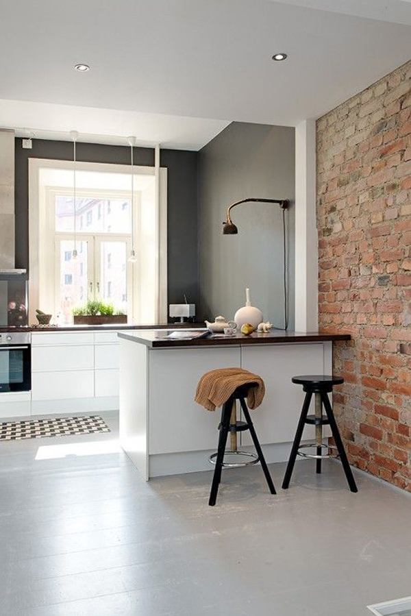 20 Minimalist Kitchens With Exposed Brick Walls Home