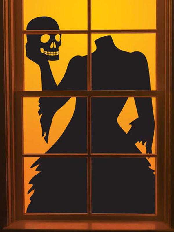 headless lady halloween window silhouettes. Black Bedroom Furniture Sets. Home Design Ideas