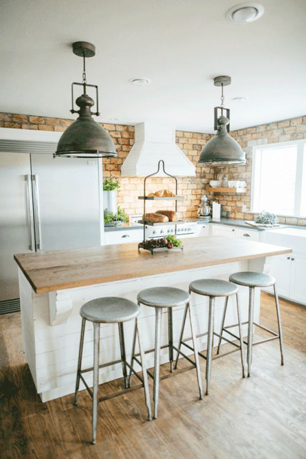 Industrial Kitchen With Exposed Brick Wall Decor Home Design And