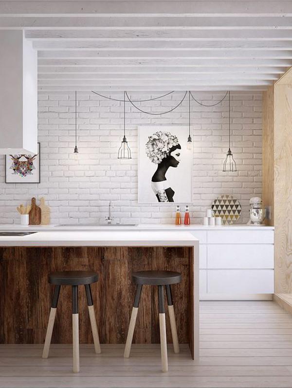 Minimalist Kitchen With White Brick Wall