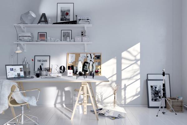 Minimalist White Scandinavian Workspace. «