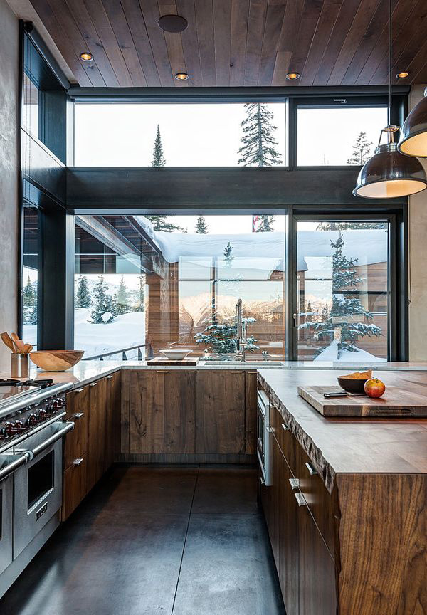 modern-rustic-kitchen-with-glass-window – HomeMydesign
