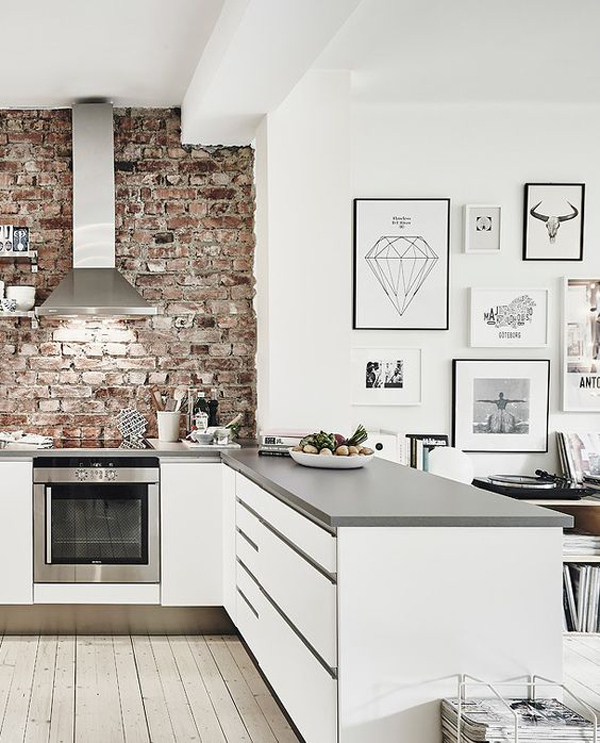 Modern white kitchen with brick wall for White exposed brick wall
