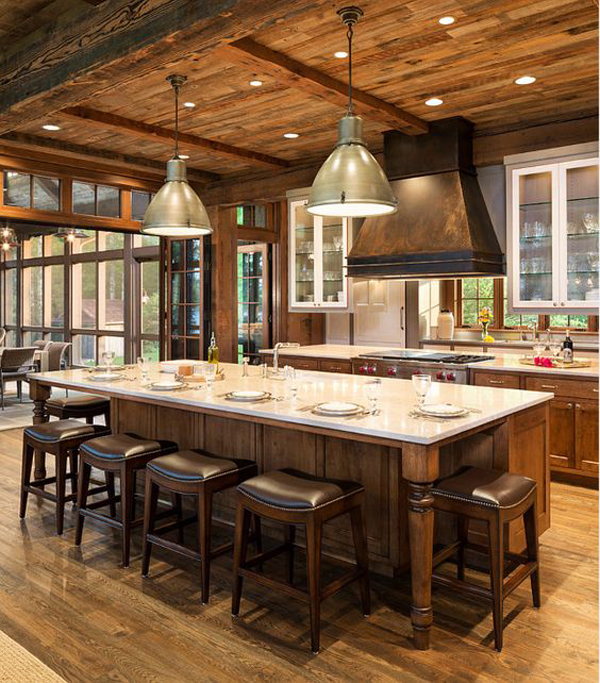 Island Type Kitchen Layout: Rustic-kitchen-island-with-seating-layout