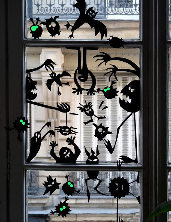 25 scary diy halloween window silhouettes home design and interior. Black Bedroom Furniture Sets. Home Design Ideas