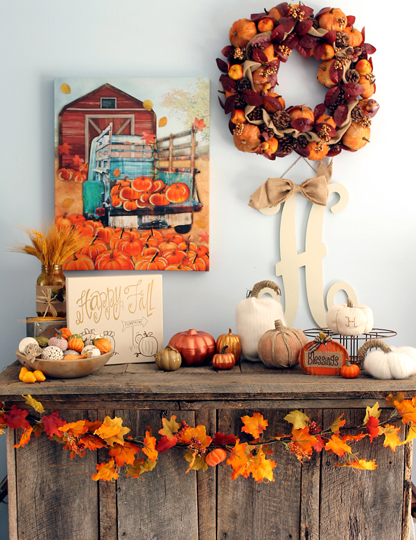 Diy rustic fall mantel decor with kirklands Fall home decorating ideas diy