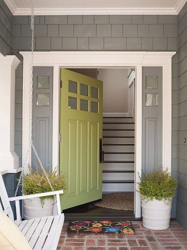 25 eclectic front doors with pastel colors home design - What color door goes with gray house ...