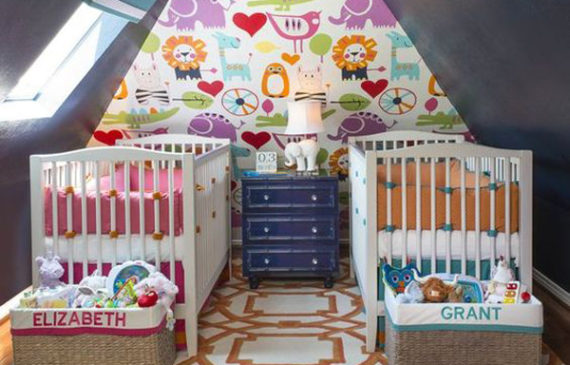 colorful-loft-twin-nursery-ideas