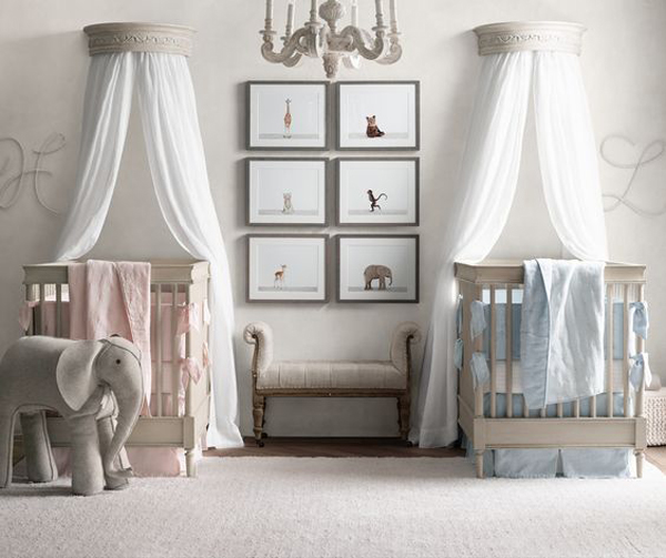 Interior Design Elegant Pink White Gray Baby Girl Room: 35 Cute Twin Nursery With Warm Colors