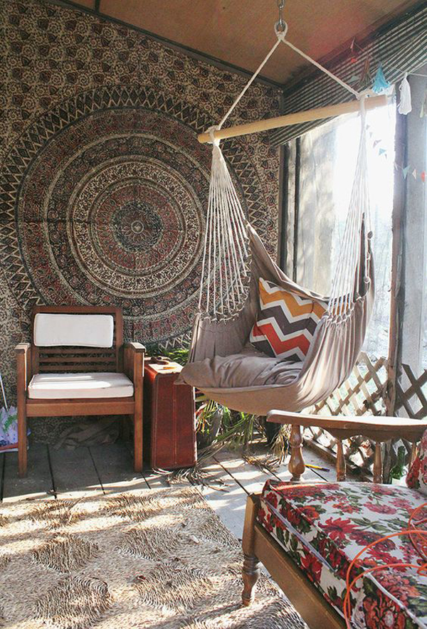 15 inspiring bohemian porch with colored textiles home - Hanging hammock chair for bedroom ...
