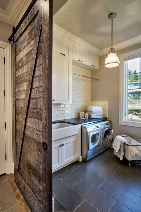 rustic-laundry-room-with-wood-sliding-doors Farmhouse Mudroom Designs on lockers bench,