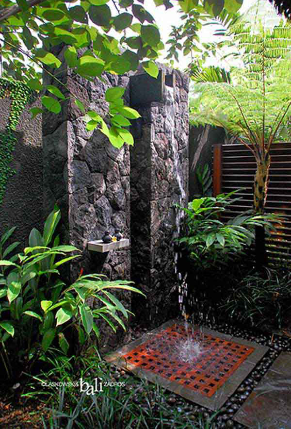 20 tropical outdoor showers with peaceful feeling home. Black Bedroom Furniture Sets. Home Design Ideas