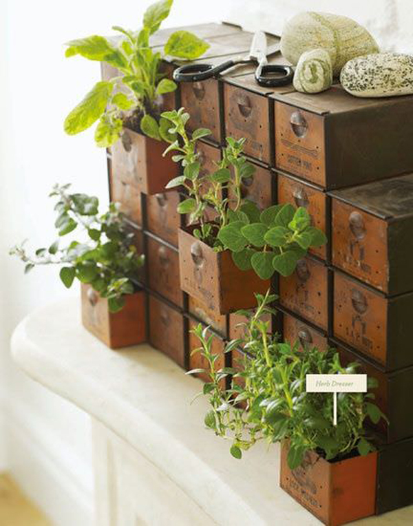 10 cheap diy indoor herb containers home design and interior for Patio herb garden designs containers