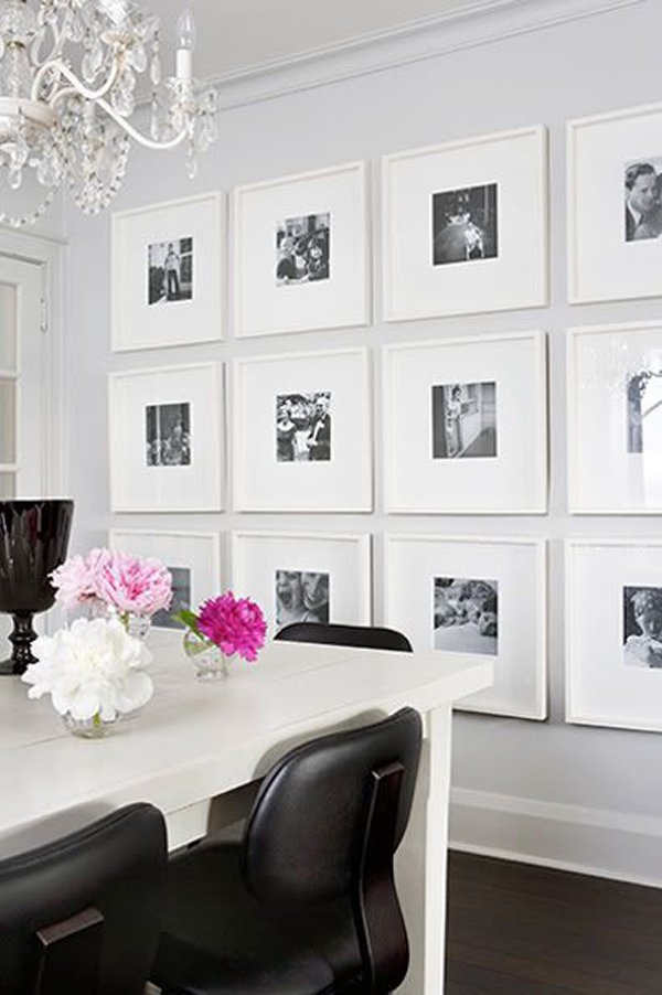 Black And White Dining Room Gallery Wall