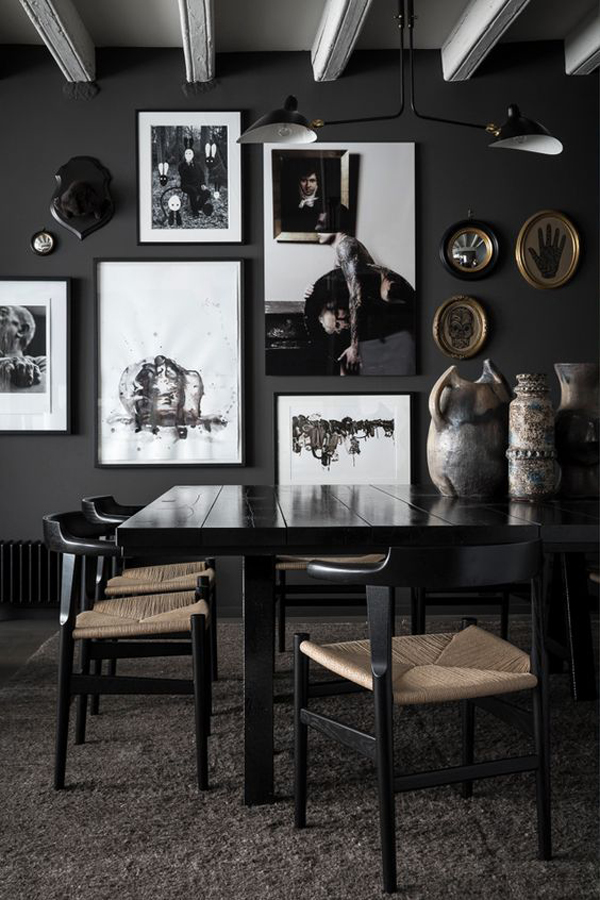 Modern Dark Dining Room Wall Art