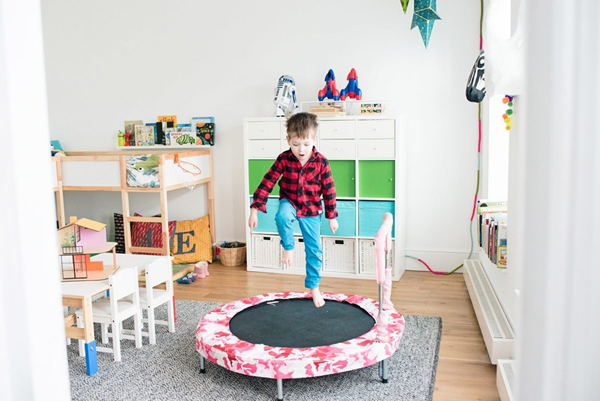 this room designed for them to play read relax and crazy zone where they can do any fun things on the table under the sleeping area and a trampoline