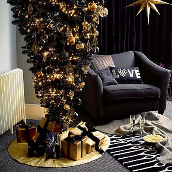 20 black christmas tree with gothic style home design and interior - Navy And Gold Christmas Decorations