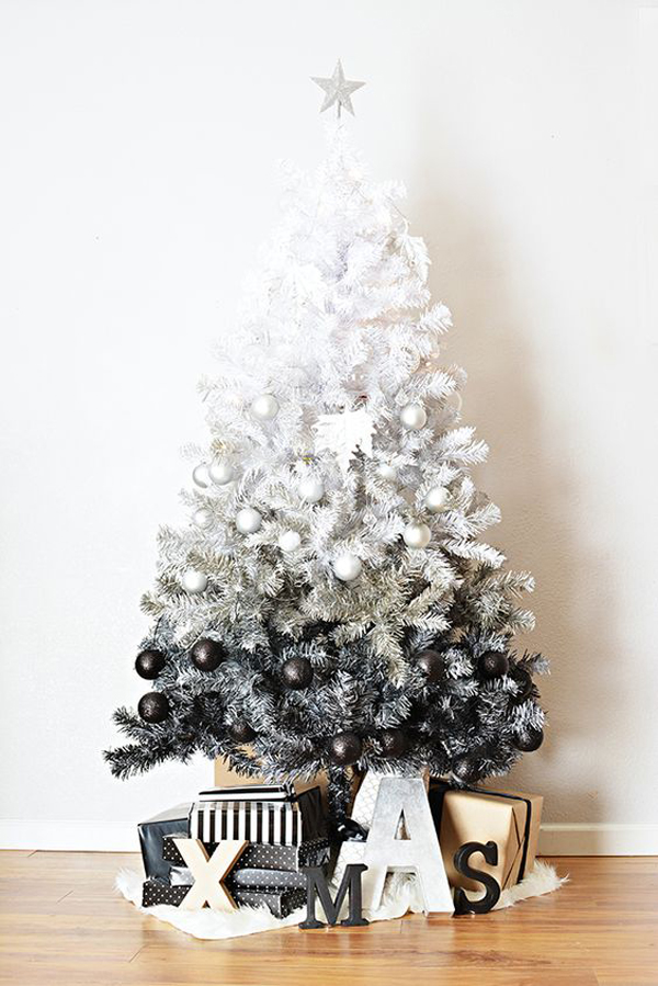 35 neutral and vintage white christmas tree ideas home for Black and white tree mural