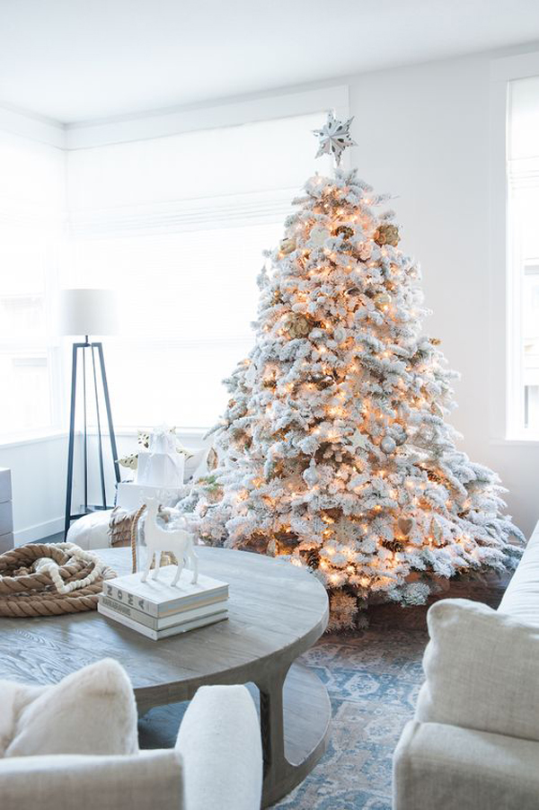 34 neutral and vintage white christmas tree ideas home. Black Bedroom Furniture Sets. Home Design Ideas