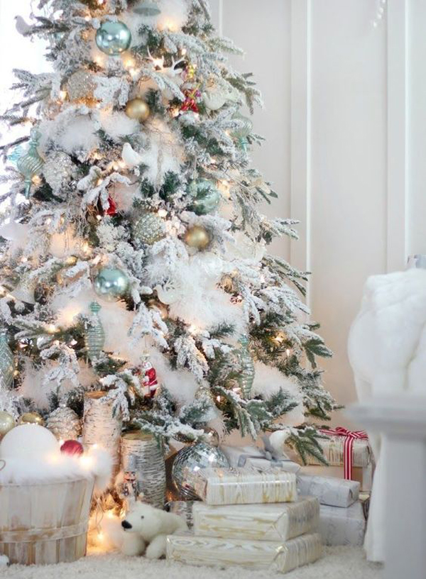 White Christmas Tree With Gold And Blue Ornament Home Design And