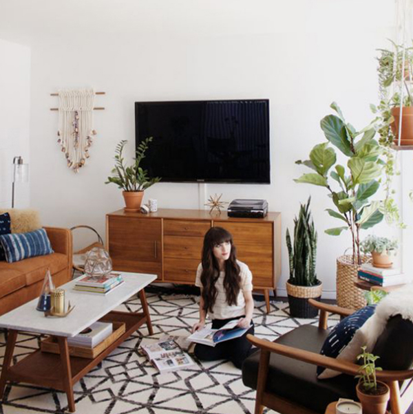 Beautiful Mid Century Room With Tv Stand Areas
