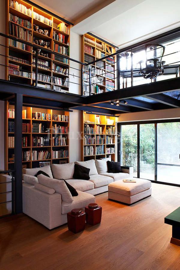 Modern Contempory Living Room With Library Ideas