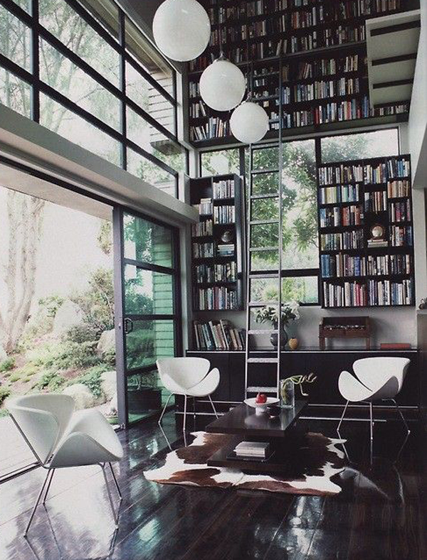 Modern Home Libraries With Casual Look