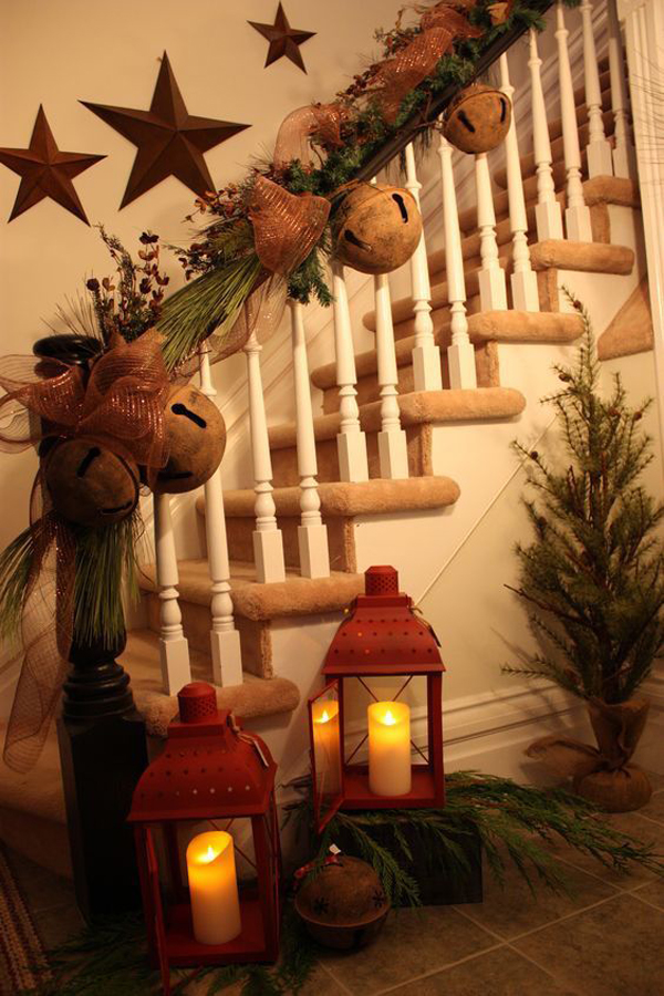 Rustic Christmas Garland For Stair Ideas Home Design And Interior