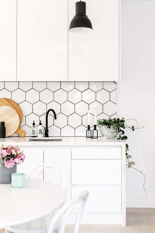 25 stylish hexagon tiles for kitchen walls and for Scandinavian kitchen backsplash