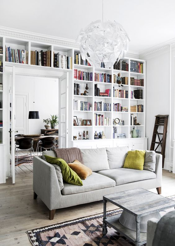 stylish white home library design