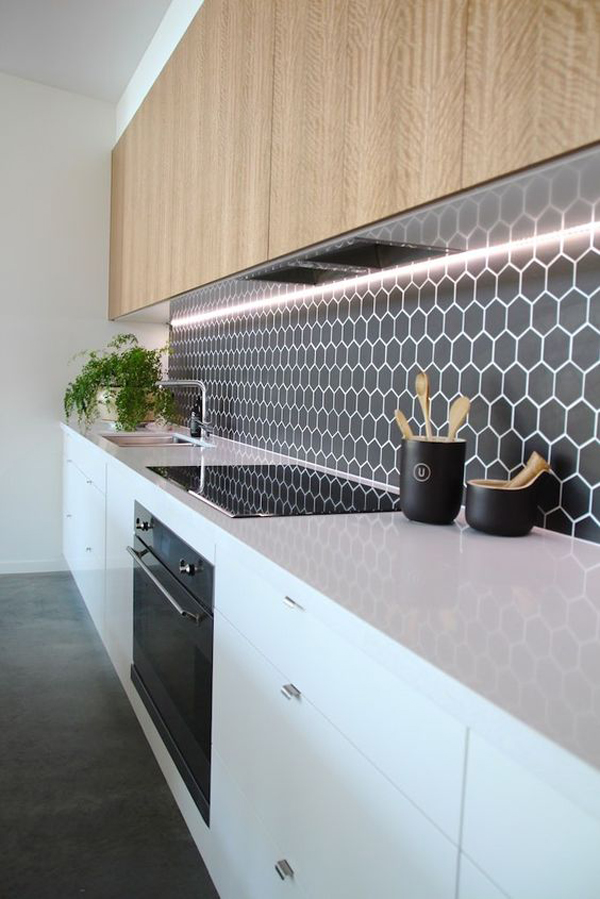 White And Timber Black Hexagon Feature Kitchen Tiles