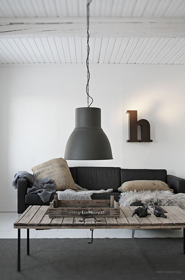 Grey Industrial Living Room With Big Lamps